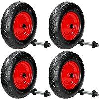 ECD Germany 4x Ruedas de aire para carretilla 4.80/4.00-8 Ø 390 mm 95 mm de Ancho 2 Capas de tejido Capacidad de 200 kg Neumático de caucho Rin de acero