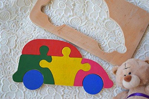 Hölzernes Puzzlespiel Baby Holz Auto Spielzeug Montessori pädagogisches Transport Spielwaren spiel Kleinkind holz Baby Geschenk Waldorf kinder Geduldspiel organisches umweltfreundliches Holz Kindspielzeug Stapel spielzeug Lern spielzeug jigsaw Puzzle Verkehr Holzpuzzle