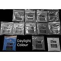 Brillo Ultra en la oscuridad fluorescente pigmento polvo UVA 20g–Utilizado para el brillo o en resina para joyas., aguamarina, 20 g