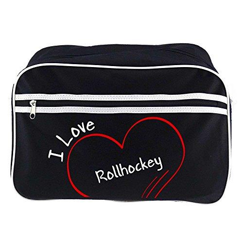 Retrotasche Modern I Love Rollhockey schwarz