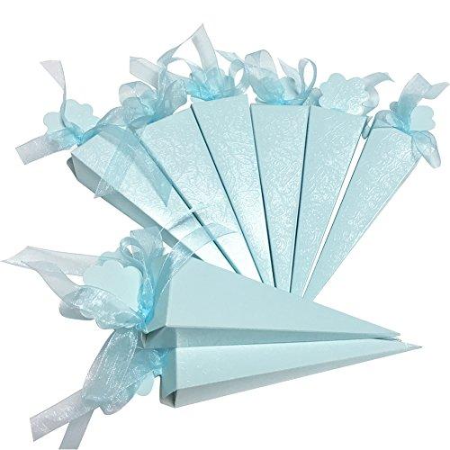 iShine® 50 pcs Süßigkeit Kästen mit SeidenBänder Geschenk boxen Konfetti Kegel für süssigkeiten (Kegel-box)