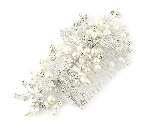 Peigne à cheveux à motif floral, avec fausses perles et pierres de Strass