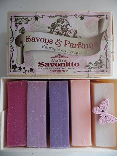 Maitre Savo Taping : 5 Savon dans une boîte cadeau en bois décorative Jasmin Savon, Rose Savon, mûre, Savon de groseille, fruits rouges en la Provence en la Provence