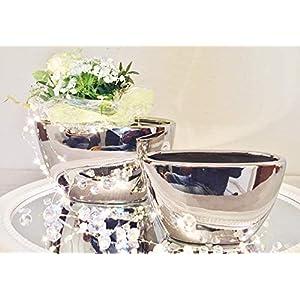 DRULINE 2er-Set Keramik Vase Wonder Silber Hochglanz Dekovase Blumenvase Shabby – FS6024-29