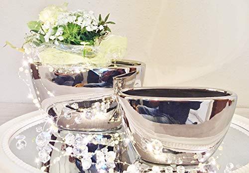 DRULINE 2er-Set Keramik Vase Wonder Silber Hochglanz Dekovase Blumenvase Shabby - FS6024-29 (Silber Vasen)