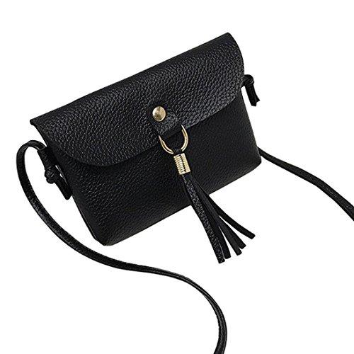 Damen taschen FORH Fashion Tasche Vintage Handtasche kleine Mini Quaste Umhängetaschen Geldbörsen Kuriertasche Handgelenkstaschen PU Leder Shopper Bag (Schwarz)