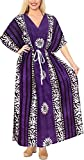 LA LEELA Lange Kaftan Lounge one Size Baumwolle Batikkleid der Frauen violett_X858 DE Größe: 42 (L) - 52 (4XL)