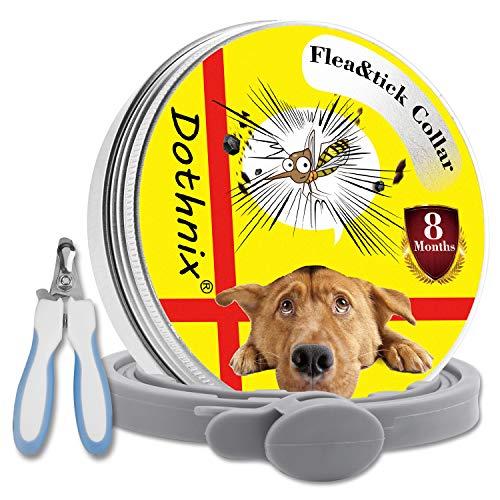 dothnix Zeckenhalsband für Hunde, Zecken Halsband Flohhalsbänder, 8 Monate Schutz, Anti-Zecken und Anti-Flöhe,mit Nagelknipser Schere für Haustiere (55cm)