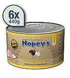 Nassfutter für Hunde mit Geflügel und Reis, Hopey's Hundefutter ohne Weizen 6x 440g mit hohem Fleischanteil 87%