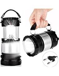 Apphome Lampe Rechargeable Lanterne de Camping Lampe Solaire LED d'extérieur Portable avec Batterie Rechargeable pour Lampes Torches Randonnée Pêche Camping Lampe Urgences Lanterne Piable (Noir)
