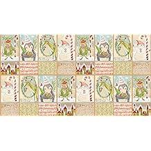 Tela de la Navidad–60cm–PANEL árboles de Navidad, ciervos, Santa, pingüinos–BLE100–tela de la Navidad por mezcla–100% algodón (giving Joy BLE100)