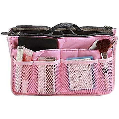 chinkyboo 12 tasche viti Organiser da viaggio borsa Organizer multiuso - grigio, colore blu, verde, rosa, rosso vinaccia, arancione con logo chinkyboo sacco protettivo come regalo, Pink rectangle, 1x