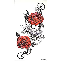 Rosas Flores Tattoo Rojo y Negro Flash Tattoo Fake Tattoo xq012