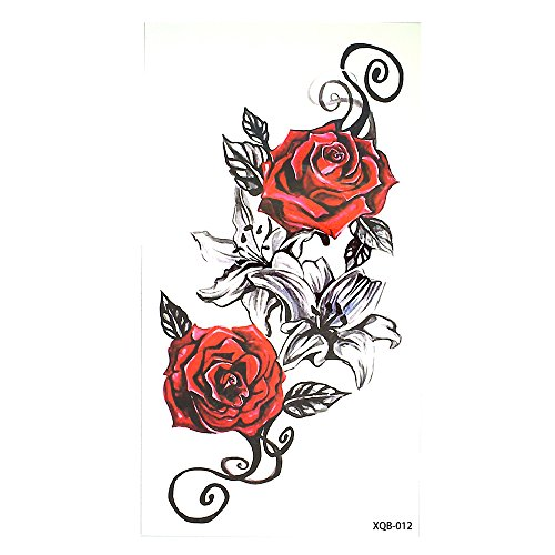 ROSEN BLUMEN TATTOO ROT UND SCHWARZ FLASH TATTOO FAKE TATTOO XQ012