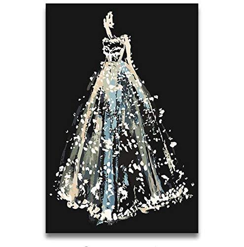QAZZSF DIY Färben Malt Durch Die Zahl Abstrakte Weiße Hochzeitskleid-Segeltuch-Anstrichzahlen Mit Farben Als Geschenk Zu Den Freunden Rahmenlos 40x50cm Digitale Malerei