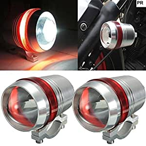 PR U3 Headlight Fog Lamp with lens Cree Led with Red Angel Eye Ring Light (Silver, 2Pc) High Beam,Low Beam,Flashing Modes LED Motorycle Fog Light Bike Projector Auxillary Spot Beam Light with and For Honda CB Twister
