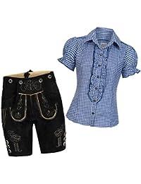 Damen Set Trachten Lederhose Shorts schwarz kurz + Träger + Trachtenbluse Ronda