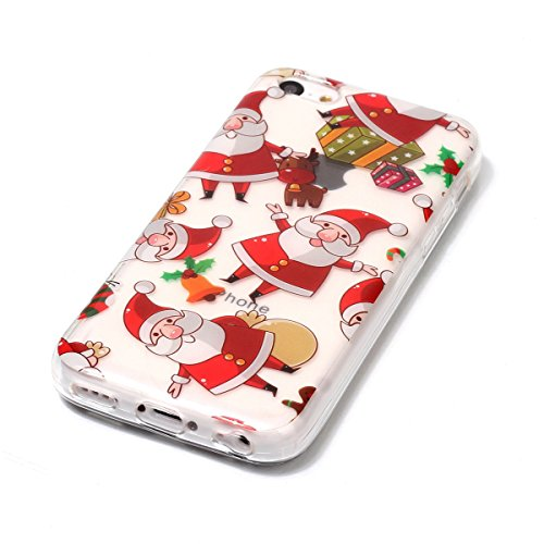 Noël Coque iPhone 5c LifeePro Ultra Mince Transparent Doux TPU Gel Silicone Antichoc Anti-rayures Full Body Étui Housse de Protection Christmas Cover pour iPhone 5c Red Gloves Elk Santa