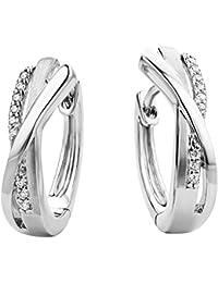 Miore Damen Creolen / Stilvolle Ring-Ohrringe aus 925 Sterling Silber mit 18 farblosen Zirkonia-Steinen / Creolen 4,5 x 16 mm