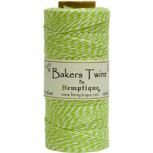 Hemptique Bakers Twine - Bobina de Hilo de algodón de Fuerza Media (125 m, 50 g, Grosor Aprox. de 1 mm), Color Verde fosforito y Blanco