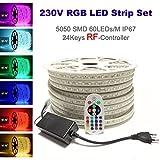 15 Meter 230V LED RGB mehrfarbig Strip Streifen Lichtband Flex Band mit 5050 SMD 60LEDs pro Meter IP67 - für Innen und Außen Wasserfest mit 24 Keys RadioFrequency Fernbedienung (RF-Controller (RadioFrequency), 15 Meter)