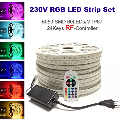 15 Meter H+H Leipzig 230V 5050 SMD 60LEDs/M IP67 Mehrfarbig RGB LED Strip Streifen Lichtband Lichtleiste Lichtschlauch mit RF RadioFrequency Netzteil Controller Fernbedienung -