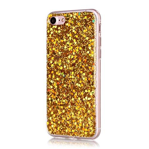 OuDu iPhone 7 Hülle, Glitzern Funkeln Hülle TPU Silicone Etui für iPhone 7 Bling Glitter Case Sparkle Style Cover Soft Lightweight Bumper Flexible Schlanke Schale Glatte Leichte Tasche Ultra Dünne Etu Gold