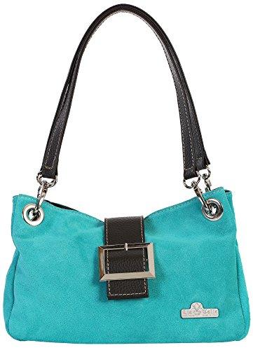 LiaTalia kleine echte italienische Wildledertasche mit Kunstverzierung Baumwollfutter und einer staubschützenden Aufbewahrungstasche - Pixie (Italienischen Türkis Designer Handtasche)