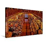 Calvendo Premium Textil-Leinwand 75 cm x 50 cm Quer, Unzählige Holzfässer gefüllt mit Feinstem Whisky lagern im Keller Einer Destillerie | Wandbild, Bild auf mit Whisky, Schottland Orte Orte
