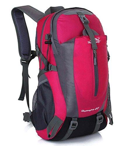 ShangYi Sport viaggi zaino outdoor trekking zaino campeggio ciclismo impermeabile sport borse per uomini e donne 40L , Black rose red