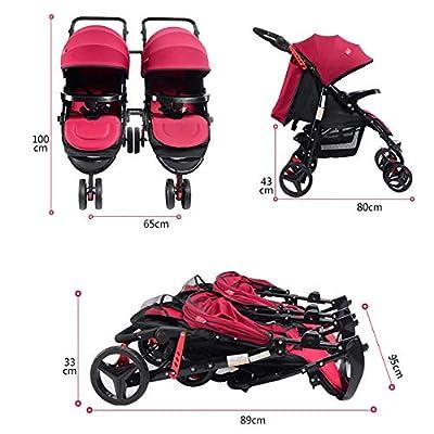PQ&D La carriola Doble Plegable Puede Sentarse o acostarse y plegarse Amortiguador de Viaje Paraguas Doble Cochecito Femenino Desmontable Lado a Lado
