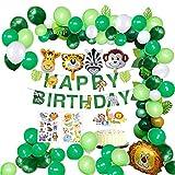 MMTX jungle verjaardag decoraties jongen- kinderverjaardag deco Happy Birthday slinger met palmbladen, luchtballonnen en safari bos dier voor kinderen kinderdagverblijf verjaardagsdecoratie (65 stuks)