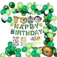 Idea Regalo - MMTX Giungla Decorazioni di Compleanno Party Ragazzi-Happy Banner di Compleanno con Foglie di Palma Palloncini in Lattice e Safari Forest Animal per Ragazzo Compleanno Decorazioni Hawaiian