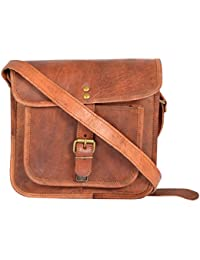 Leathercraft Unisex Sling Bag (Brown, ME16), 8.2 Inches * 1.6 Inches * 8.6 Inches, Pure Jodhpuri Leather, For...