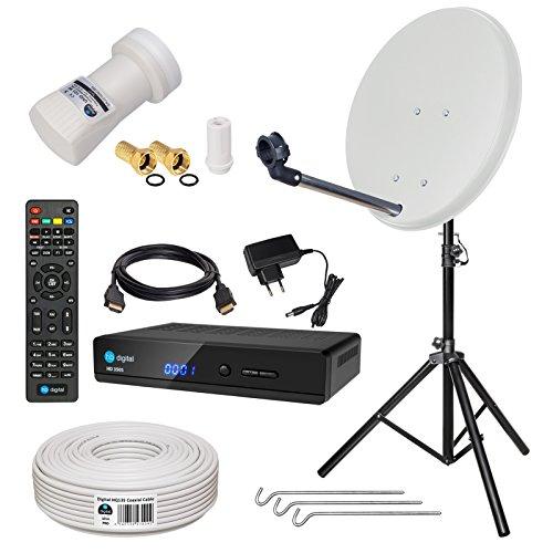 HB-DIGITAL Sat-Komplett-Set: Mini Sat Anlage 40cm Schüssel Hellgrau + UHD Single LNB 0,1 dB + 10m Kabel + HD 350S Receiver ( für HDTV geeignet ) + Alu Stativ