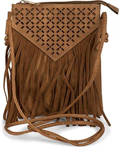 styleBREAKER Minibag Umhängetasche mit Cutout Muster und Fransen im coolen Ethno Style, Schultertasche, Tasche, Damen 02012126