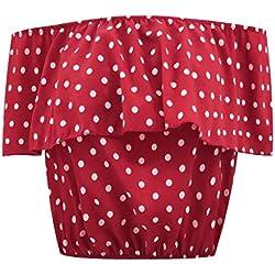 AIMEE7 Ropa Mujer Camiseta Sexy Manga Corta imprimiendo de Lunares con Hombro Descubiertos, Chaleco, Camisa, Camiseta y Blusa 2019 de Moda Casual Primavera y Verano para Mujeres