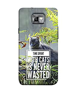 PrintVisa Designer Back Case Cover for Samsung Galaxy S2 (time spend with cat quotes)
