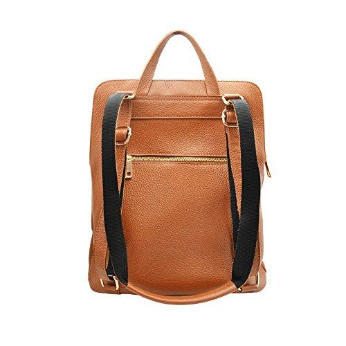 ERIC Sac portés dos cartable sac d'ordinateur avec convertible bretelles, cuir souple grainé, fabriqué en Italie caramel