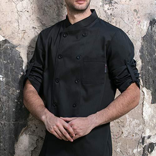 Dexinx Unisex Erwachsene Köche Jacke Mantel Hotel Küche Uniform 3/4 Ärmeln Food Service Koch Arbeitskleidung Chefs Catering Bekleidung Schwarz XL - 3