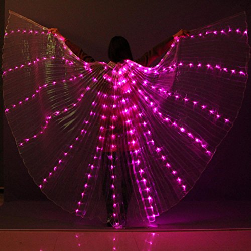 Belly Dance LED Isis Flügel Women's Performance 3 Stücke Belly Dancing Accessory Stage Performance 8 Requisiten Farben verfügbar Weihnachten , rose red , one (Kostüm Tanz Strom)