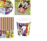 Looney Tunes 16 persone, con piatti, bicchieri, tovaglioli, tovaglia &