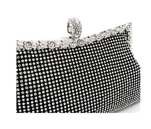 GSHGA Damenhandtaschen Strass Abendtasche Brauthandtasche,Black Black