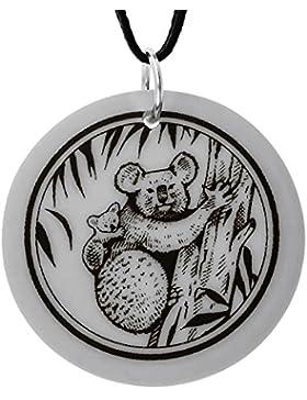Handgemachte Koala Totem Runde Porzellan Anhänger (auf schwarzer Schnur)