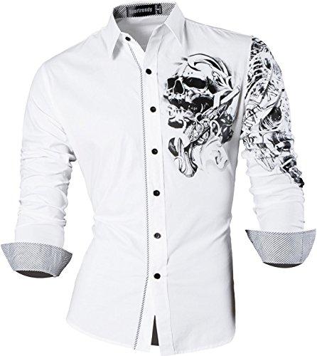eizeit Hemden Slim Button Down Long Sleeves Dress Shirts Tops MFN2_JZS041 (USA M (Chest 102-108cm), JZS042_White) (Herren 80's Kostüm Bilder)