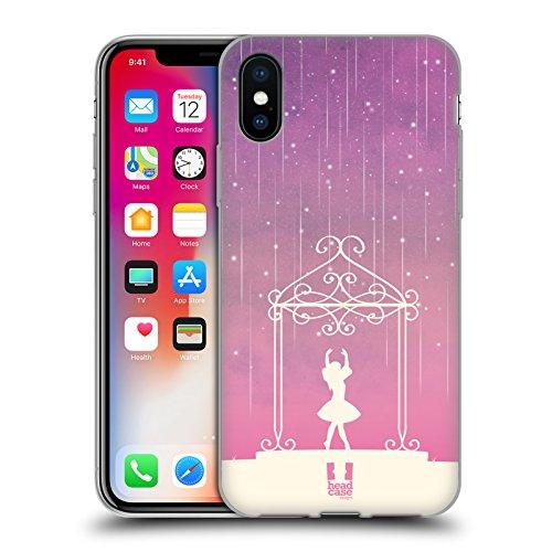 Head Case Designs Ballerina Pioggia Di Meteore Sfumata Cover Morbida In Gel Per Apple iPhone X Ballerina