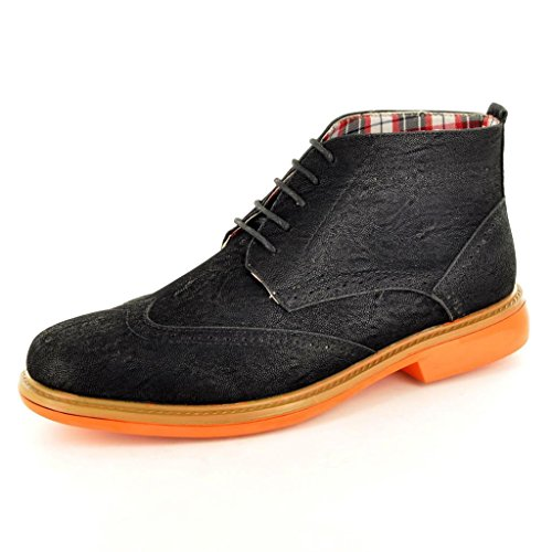 mens-black-casual-formal-desert-ankle-brogue-chukka-boots-size-6-black