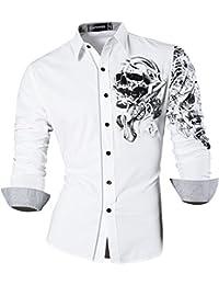 Sportrendy Herren Freizeit Hemden Slim Button Down Long Sleeves Dress  Shirts Tops JZS041 e0a3fa79e3