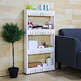 Saimani 4 Layer Space Saving Storage Organizer Plastic Rack/Shelf with Wheels for Kitchen Bathroom Bedroom