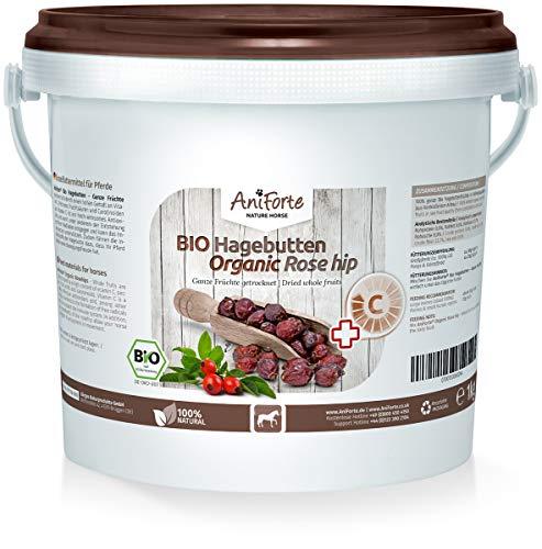 AniForte Bio Hagebutten 1kg ganze Früchte, Vitamin C und Gelenk Unterstützung aus Ökologischen Anbau, Hagebutte getrocknet, Natur Pur für Pferde und Tiere, Naturrein in Premium Rohkost Qualität -